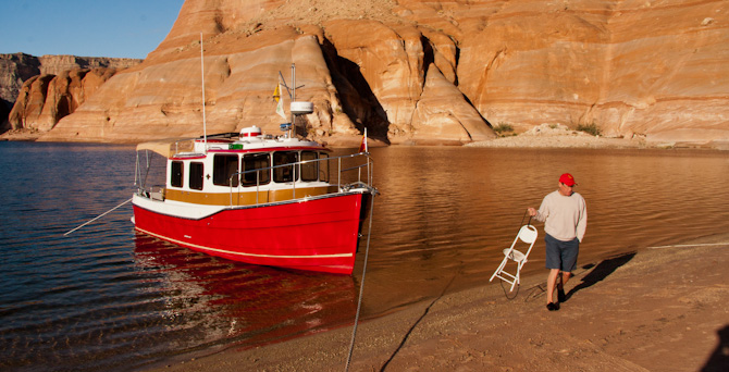 Beach Anchoring Kismet On Lake Powell