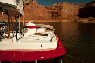 Ranger Tug, Kismet, at anchor in Dungeon Canyon, Lake Powell