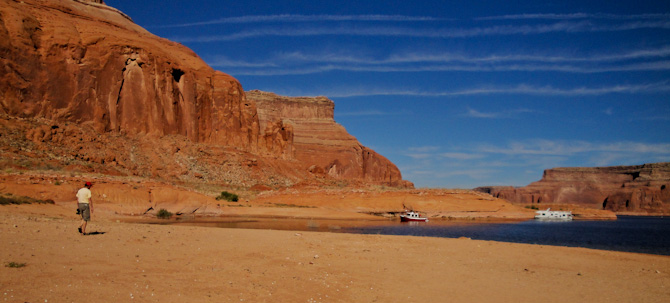 Ranger Tug, Kismet at anchor in Dungeon Canyon, Lake Powell