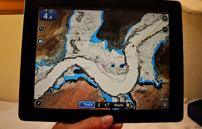 iPad Navonics GPS tracker route back to Wahweap